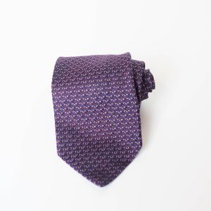 Barneys New York MEN'S TIE Purple Silk ITALY